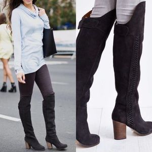 DV DOLCE VITA OVER THE KNEE SUEDE BRAIDED BOOTS